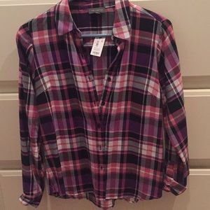 Purple and pink plaid shirt